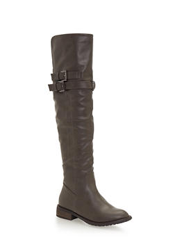 Flat Over the Knee Boots with Buckle Straps - 1116073492626
