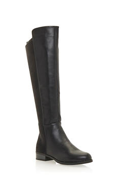 Knee High Flat Boots with Elastic Panels - 1116073492722