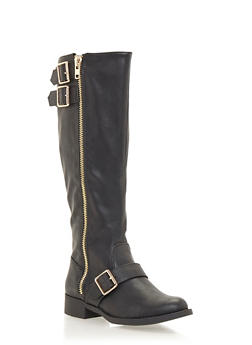 Zipper Knee High Boots with Buckle Straps - 1116073494396