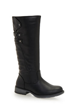 Faux Leather Boots with Double Straps - 1116073494748