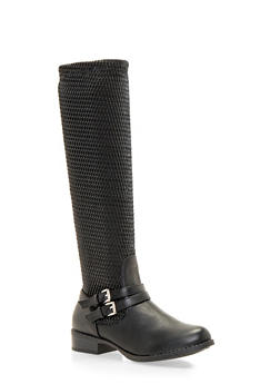 Faux Leather Riding Boots with Double Buckle Straps - 1116073495258
