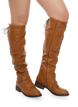 Knee High Ruched Riding Boots with Lace Up Detail - COGNAC - 1116073495475