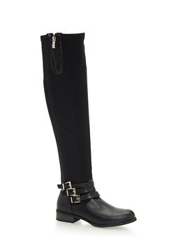 Stretch Over the Knee Boots with Buckles - 1116073495673