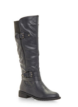 Flat Boots with Buckle Straps - 1116073495952