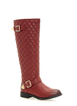 Quilted Flat Boots with Buckle Strap - 1116073496273