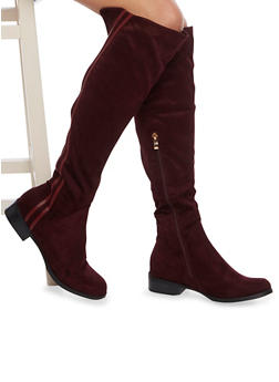 Over the Knee Boots with Striped Trim - 1116073496455