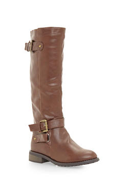 Knee High Buckle Boots - 1116073496464