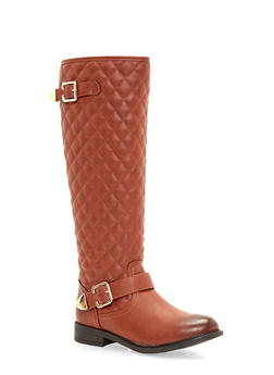 Quilted Flat Boots with Buckle Straps - 1116073496743
