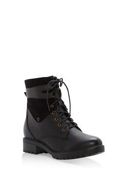 Faux Leather Side Zip Booties - BLACK - 1116073496752