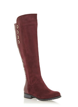 Over the Knee Boots with Button Accents - 1116073497272