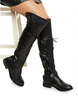Over the Knee Boots with Lace Up Front - BLACK - 1116073497473