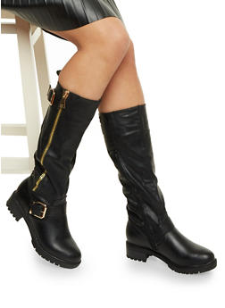 Tall Biker Boots with Buckle Straps - 1116073497624