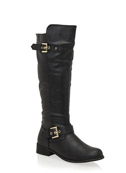 Knee High Boots with Side Metallic Accents - 1116073497652