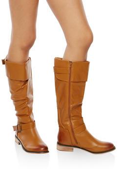 Double Buckle Flat Riding Boots - COGNAC - 1116073497673