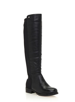 Knee High Boots with Elastic Paneling - 1116073497674