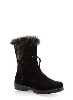 Faux Fur Trim Moccasin Boots - BLACK - 1116073497893