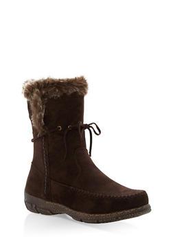 Faux Fur Trim Moccasin Boots - BROWN - 1116073497893