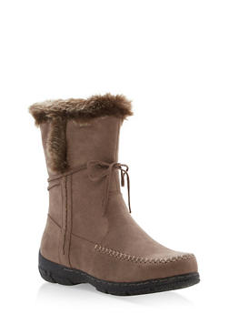 Faux Fur Trim Moccasin Boots - STONE - 1116073497893