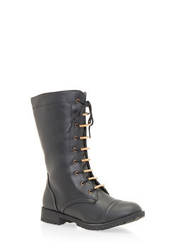 Lace Up Flat Boots - BLACK - 1116073498040