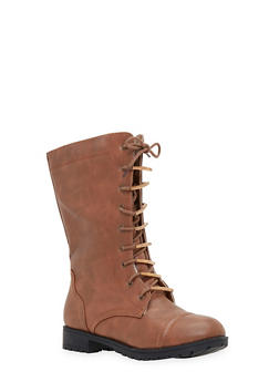 Lace Up Flat Boots - 1116073498040