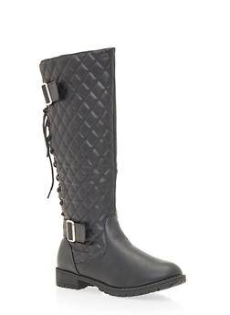 Lace Up Biker Boots with Quilted Panel - 1116073498057
