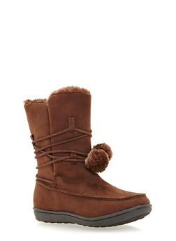 Shearling Lined Boots with Pom Pom Tie - BROWN - 1116073498128
