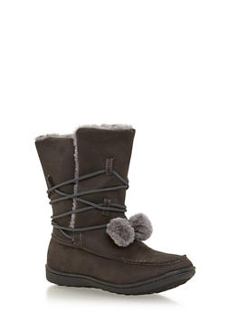 Shearling Lined Boots with Pom Pom Tie - GREY - 1116073498128