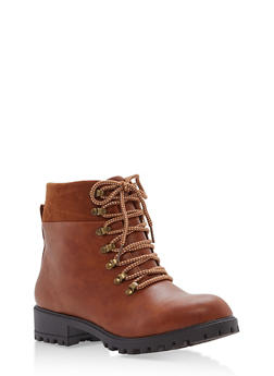 Faux Leather Lace Up Booties - COGNAC - 1116073498150