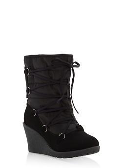 Faux Fur Lined Wedge Booties - BLACK - 1116073498166