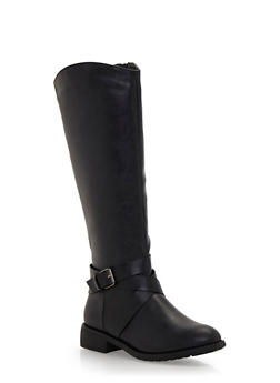Knee High Boots with Buckle - 1116073498364