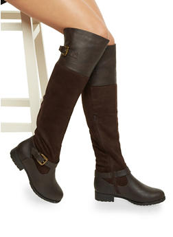 Over the Knee Riding Boots with Buckles - 1116073498465