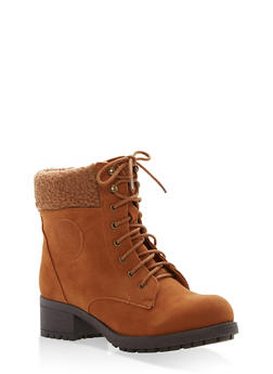 Sherpa Cuffed Lace Up Booties - 1116073499266