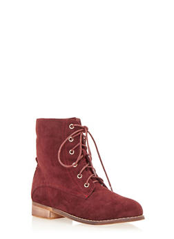 Lace Up Flat Bootie in Brushed Suede - 1116073541657