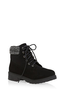 Knit Ankle Lace Up Work Boots - BLACK NUBUCK - 1116073541761