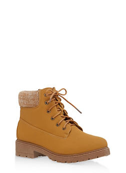 Knit Ankle Lace Up Work Boots - WHEAT NUBUCK - 1116073541761