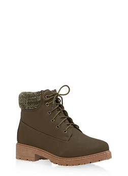 Knit Ankle Lace Up Work Boots - OLIVE NUBUCK - 1116073541761