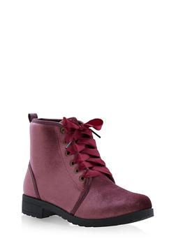 Ribbon Lace Up Booties - MAUVE F/S - 1116073541774