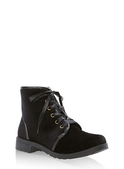 Ribbon Lace Up Booties - BLACK - 1116073541774