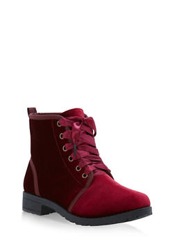 Ribbon Lace Up Booties - BURGUNDY F/S - 1116073541774