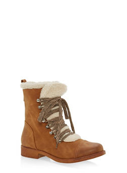 Sherpa Lined Faux Suede Lace Up Booties - BROWN/BEIGE - 1116073542529