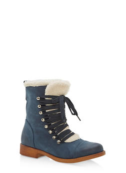 Sherpa Lined Faux Suede Lace Up Booties - NAVY/BEIGE - 1116073542529