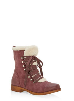 Sherpa Lined Faux Suede Lace Up Booties - BURGUNDY/BEIGE - 1116073542529