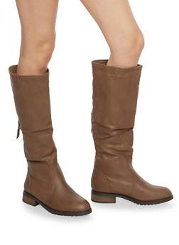 Tall Back Zip Riding Boots - COGNAC - 1116073542628