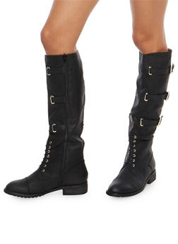 Tall Lace Up Riding Boots with Buckle Detail - BLACK - 1116073545673