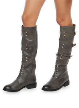 Tall Lace Up Riding Boots with Buckle Detail - 1116073545673