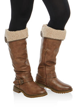 Sherpa Lined Faux Leather Buckle Boots - 1116073547254