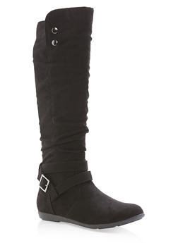 Faux Suede Buckle Tall Boots - BLACK F/S - 1116073905578