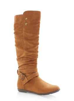 Faux Suede Buckle Tall Boots - COGNAC F/S - 1116073905578