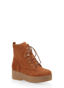 Faux Suede Lace Up Platform Booties - TAN - 1116074457452