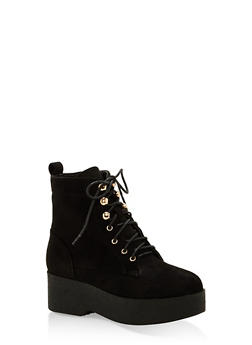 Faux Suede Lace Up Platform Booties - BLACK F/S - 1116074457452